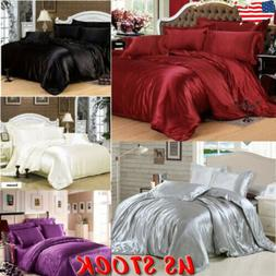 Ice Silk Soft Satin King Queen Twin Size Quilt Cover Sets Be