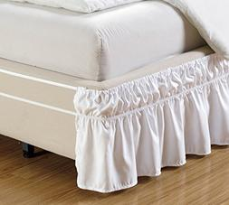 """15"""" inch fall - Wrap Around WHITE Ruffled Elastic Solid Bed"""