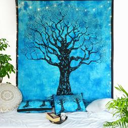 Indian Decor King Size Bed Sheet Tree of Life Cotton Tapestr