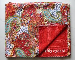 Mango Gifts Indian Quilts, Pure Cotton Kantha Style Queen Si