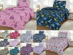 Kids Bedding Quilt Set Twin Size Bed Cover Bedspread Boys &