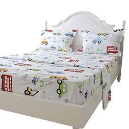 Brandream Kids Boys Cars Vehicles Bed Sheet Set Cotton Sheet
