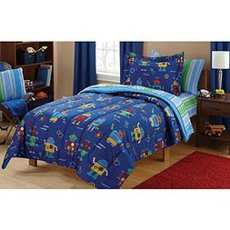 Mainstays Kids Robots Bed in a Bag Bedding Set, TWIN