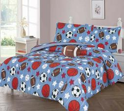 Kids/Teens Sports Athlete Bed In a Bag COMFORTER Football Pl