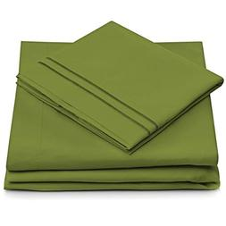 Queen Size Bed Sheets - Olive Green Luxury Sheet Set - Deep