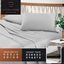 Premium King Sheets Set - Light Silver Grey Hotel Luxury 4-P