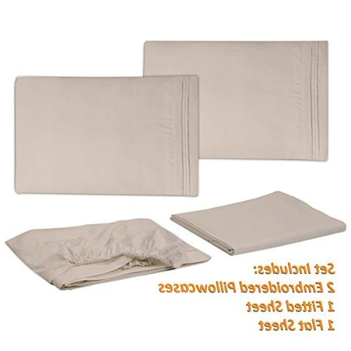 1500 Supreme Collection Extra Soft Beige - Bed Sheets Pocket Wrinkle Free Bedding, Over Queen Size,