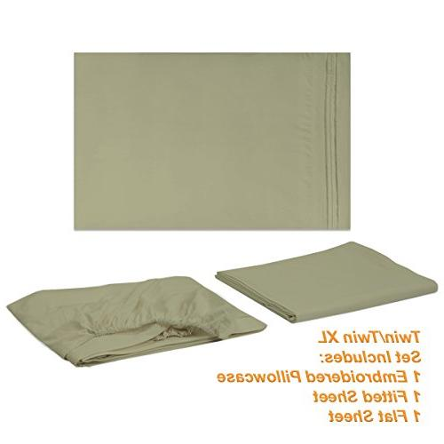 1500 Collection Soft Twin Sage - Sheets With Pocket Wrinkle Free Hypoallergenic Bedding, 40 Twin