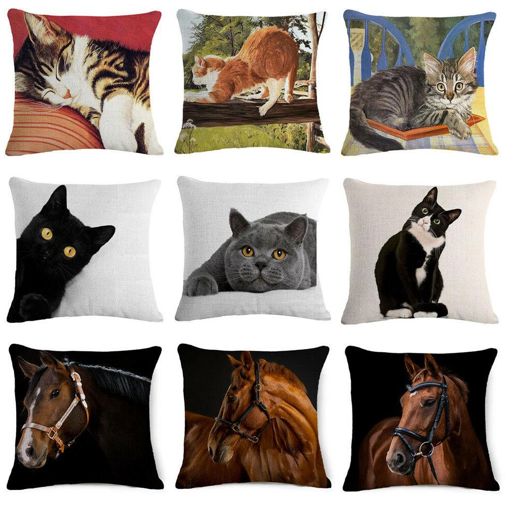 "18"" Cat & Horse Throw Pillow Case Linen Home Decor Sofa Ca"