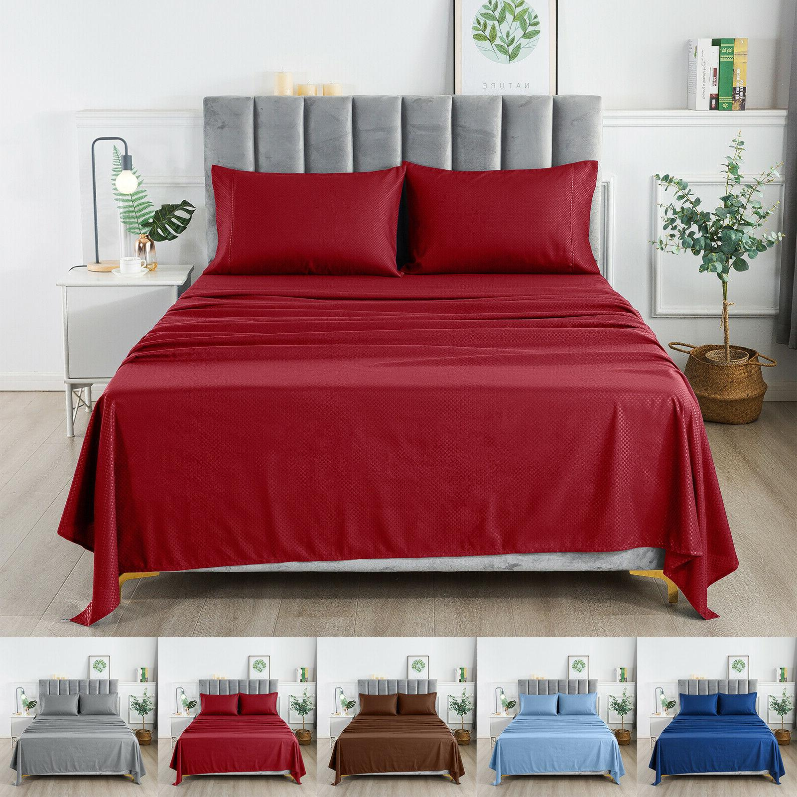1800 series egyptian checkered bed sheet set