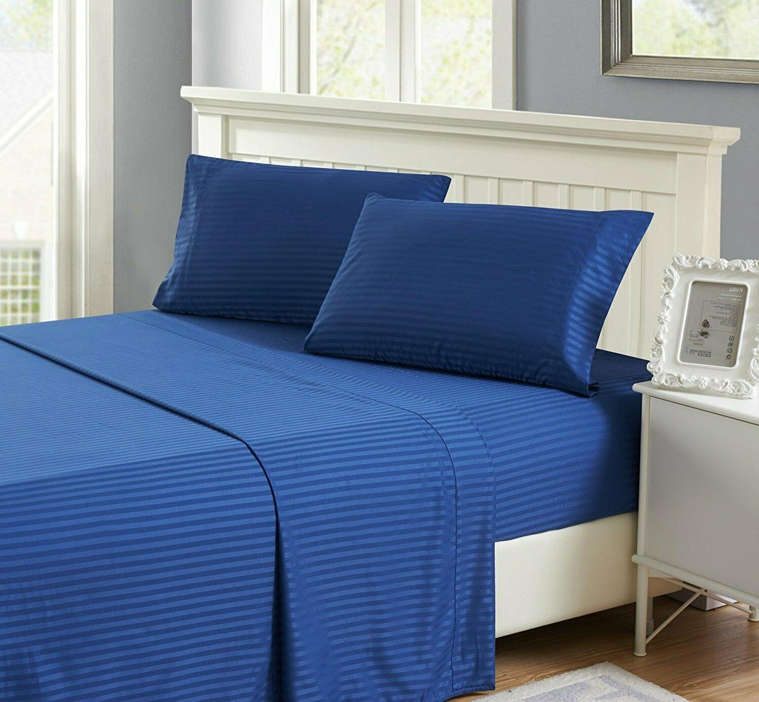 4 Piece Bed Sheets 1800 Count Egyptian Comfort Deep Pocket H