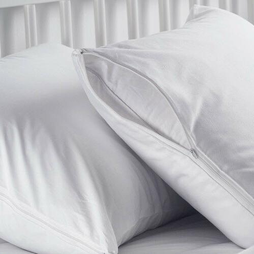 2 white hotel hypoallergenic pillow case zippered bed bug mi