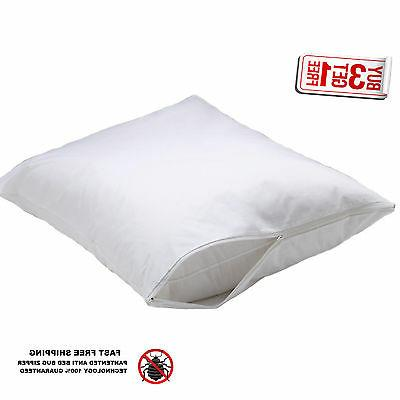 2 hotel hypoallergenic pillow case zippered bed bug protecto