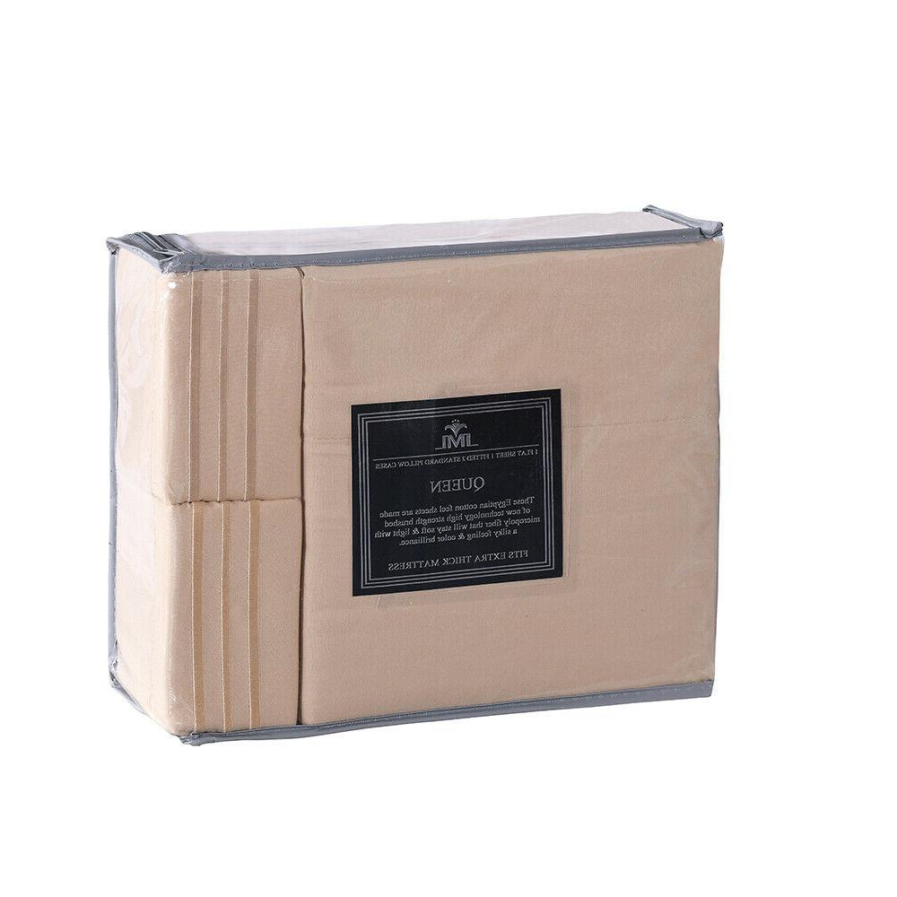 4 Piece Fitted Bed Sheet Egyptian 2200 Sheets