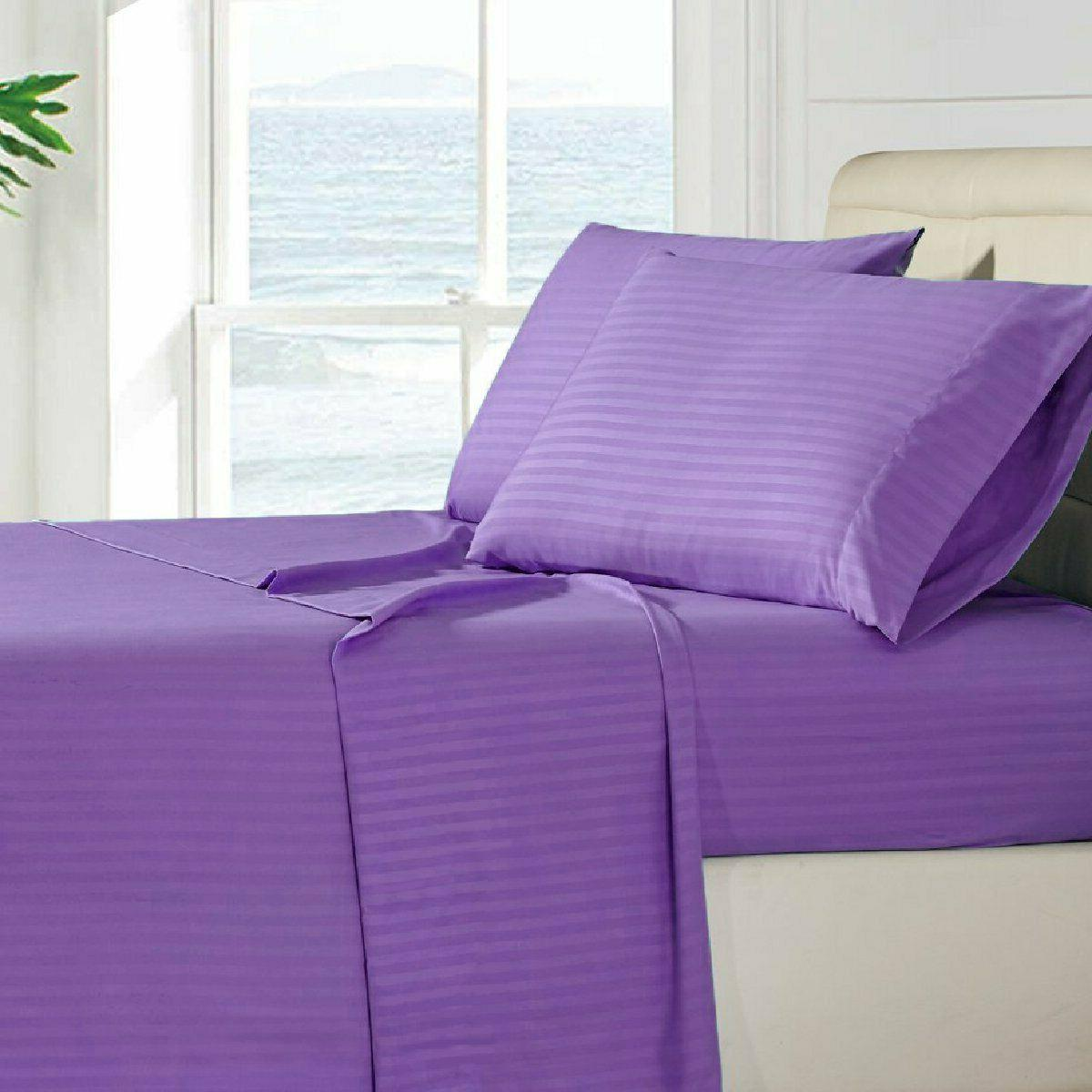 Luxury Ultra Soft 1800 Series Stripe Hotel Quality Bed Sheet