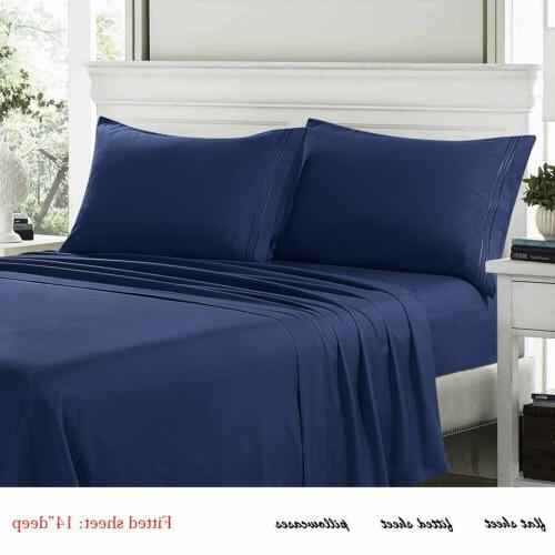 40% OFF Piece Bed Sheet Solid Deep Hotel Quality 1800 Count