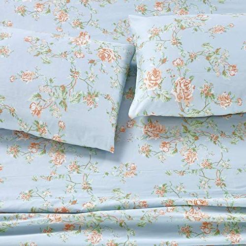 400 Thread Cotton in Rose Queen Set, Long-staple Cotton Best Sheets Bed, Breathable, Fits Mattress Deep