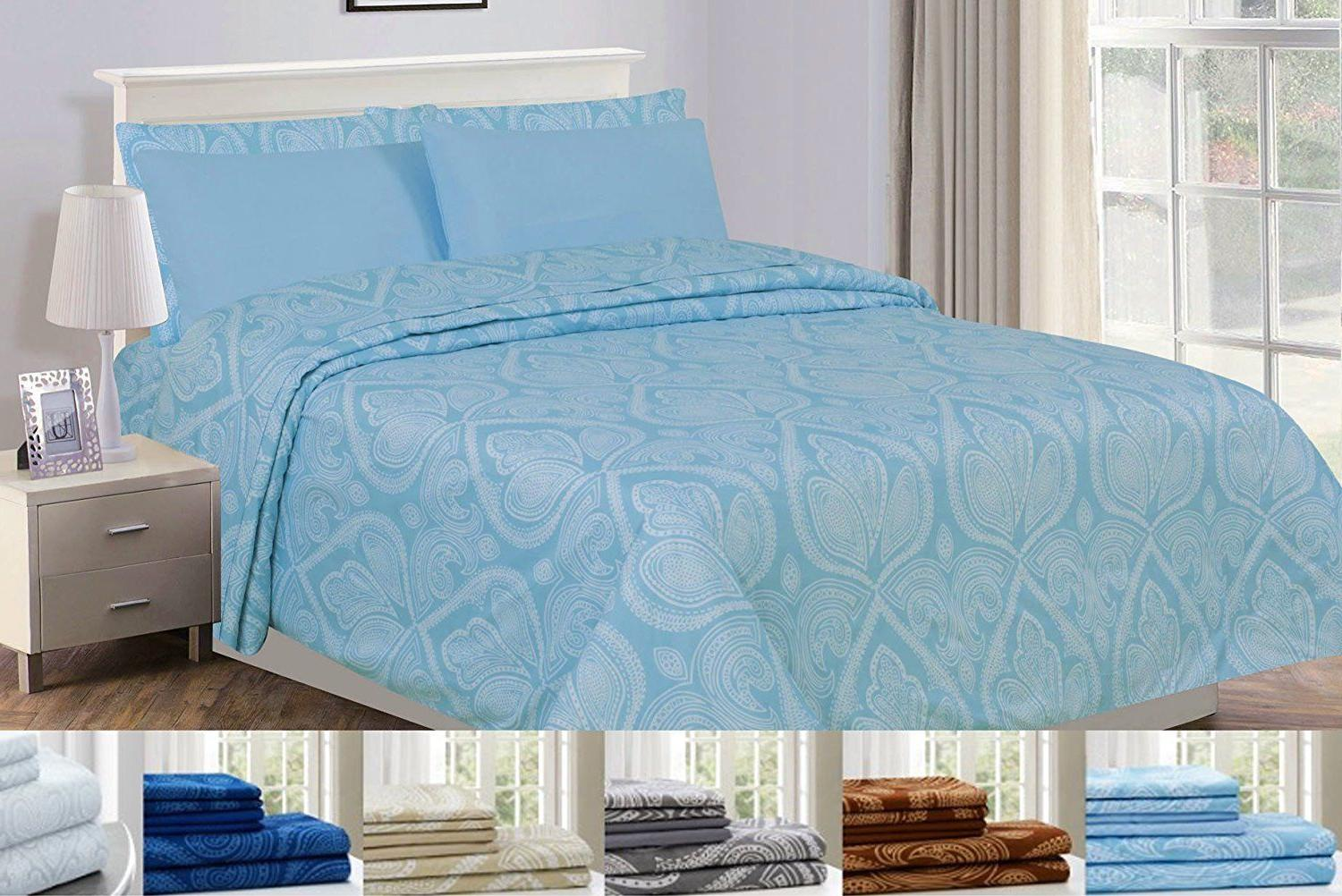 6 Piece: 1800 Series Egyptian Paisley Printed Bed Sheet Set