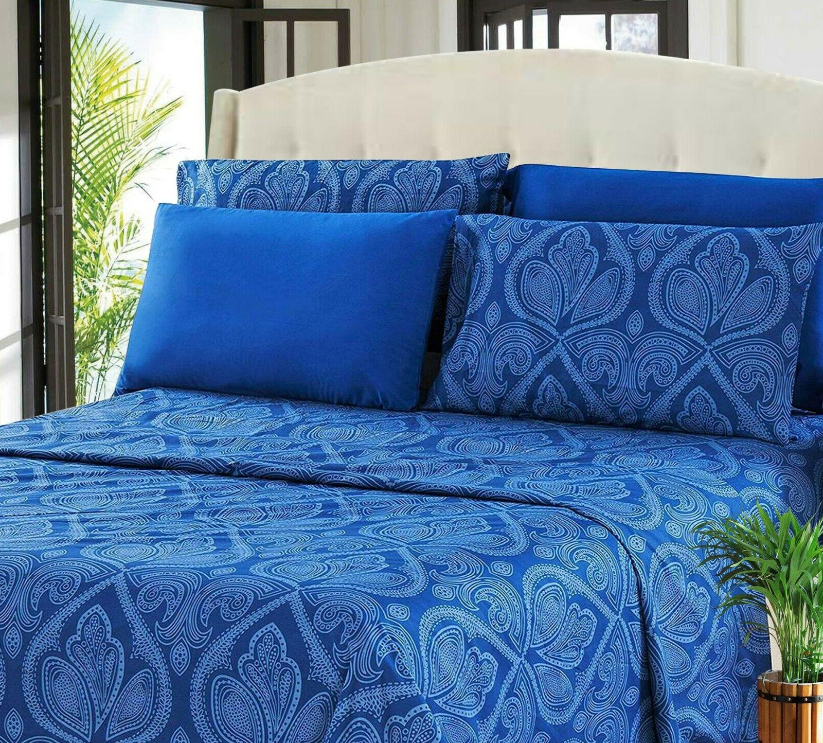 6 soft Bed Sheets Brushed Microfiber Resistant in Sizes
