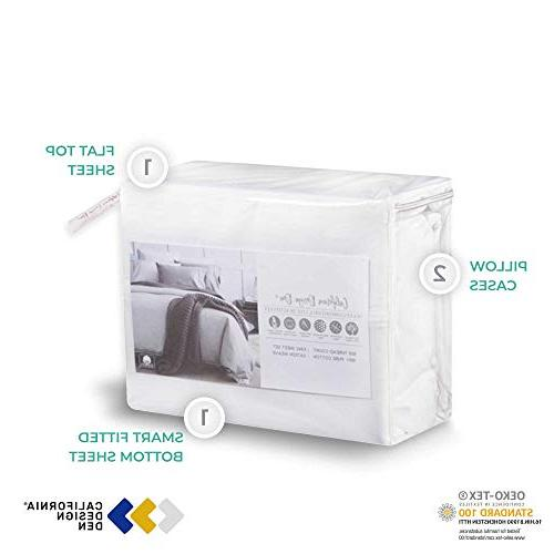 600-Thread-Count Sheets & Pillowcases Set - Pure Bedding For Bed, Fits 18'' Deep Soft & Silky Sateen