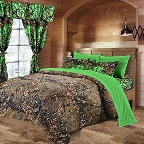 7 PC KING SIZE  WOODS NATURAL CAMO COMFORTER AND BIO GREEN S