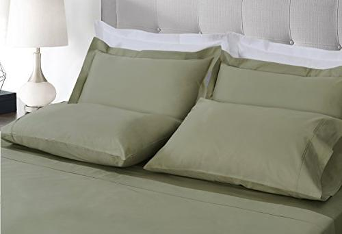Threadmill Linen Thread 100% Staple Cotton, Piece Bed Sheet Set, Luxury Bedding, deep, Sateen Weave, Sage