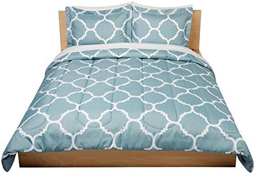 AmazonBasics Bed-In-A-Bag - Full/Queen, Blue Trellis
