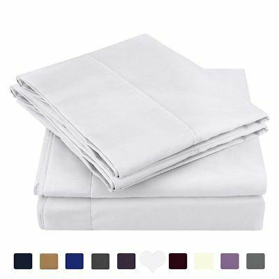 % Sheets Queen Size White 4 Piece