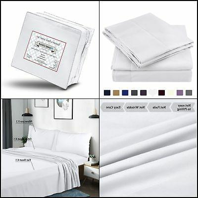 Bed Sheet Set 100 % Cotton Sheets Queen Size White Fitted Fl