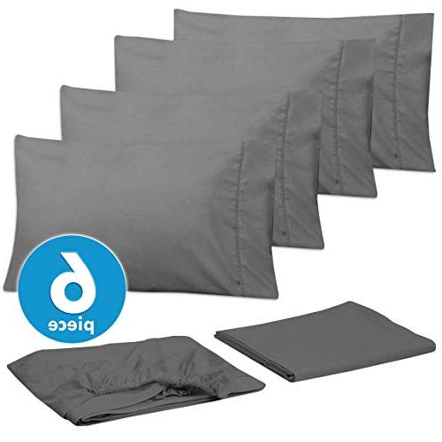 Bed Queen Grey - Piece 1500 Count Fine Brushed Microfiber Queen Sheet Bedding CASES, GREAT Queen, Gray
