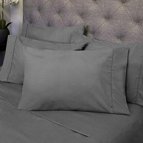Bed Grey - Piece 1500 Thread Brushed Microfiber Deep Pocket Queen - EXTRA PILLOW CASES, GREAT VALUE Queen,