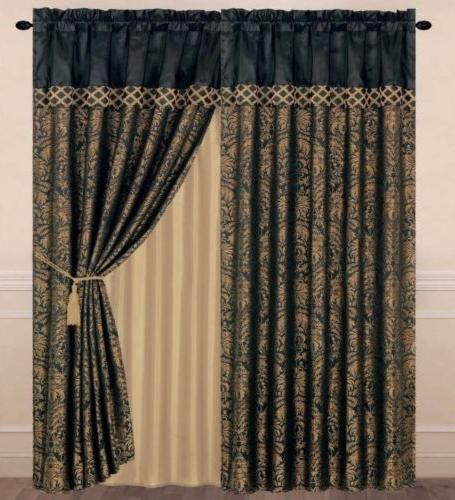 Chezmoi Collection Lisbon 4-Piece Jacquard Floral Window Cur
