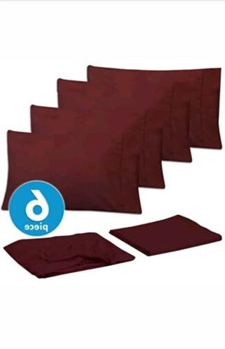 Sweet Home Collection 6Pc Bed Sheet Set Solid 1500 Thread Co