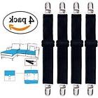 4 Pack Adjustable Heavy Duty Bed Sheet Cover Grippers Suspen