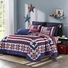 AMERICAN STAR Full Queen QUILT SET : RED WHITE BLUE FLAG COU