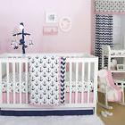 Anchor Nautical 4 Piece Baby Crib Bedding Set in Pink / Navy