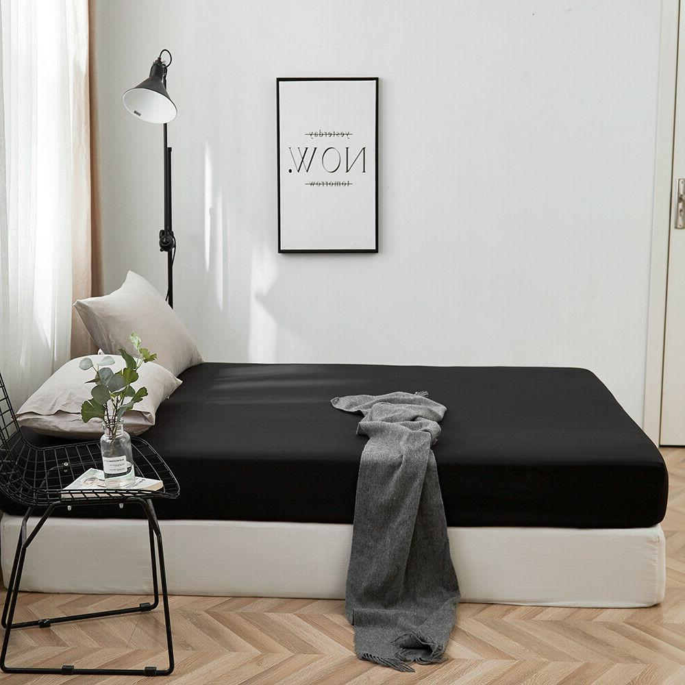 Solid Bed Sheet 16'' Sheets King Size