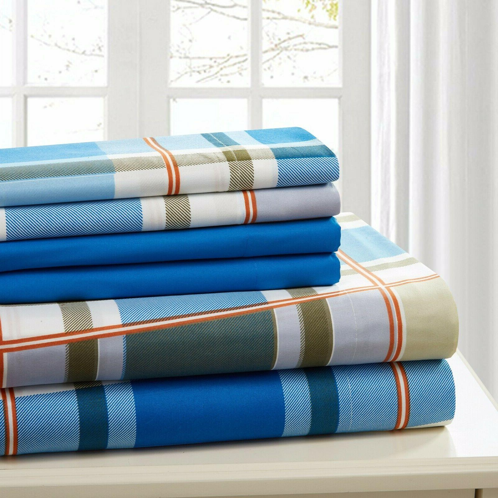COTTON PERCALE 6 PC SHEET SET PRINTED SOFT TWIN FULL QUEEN K