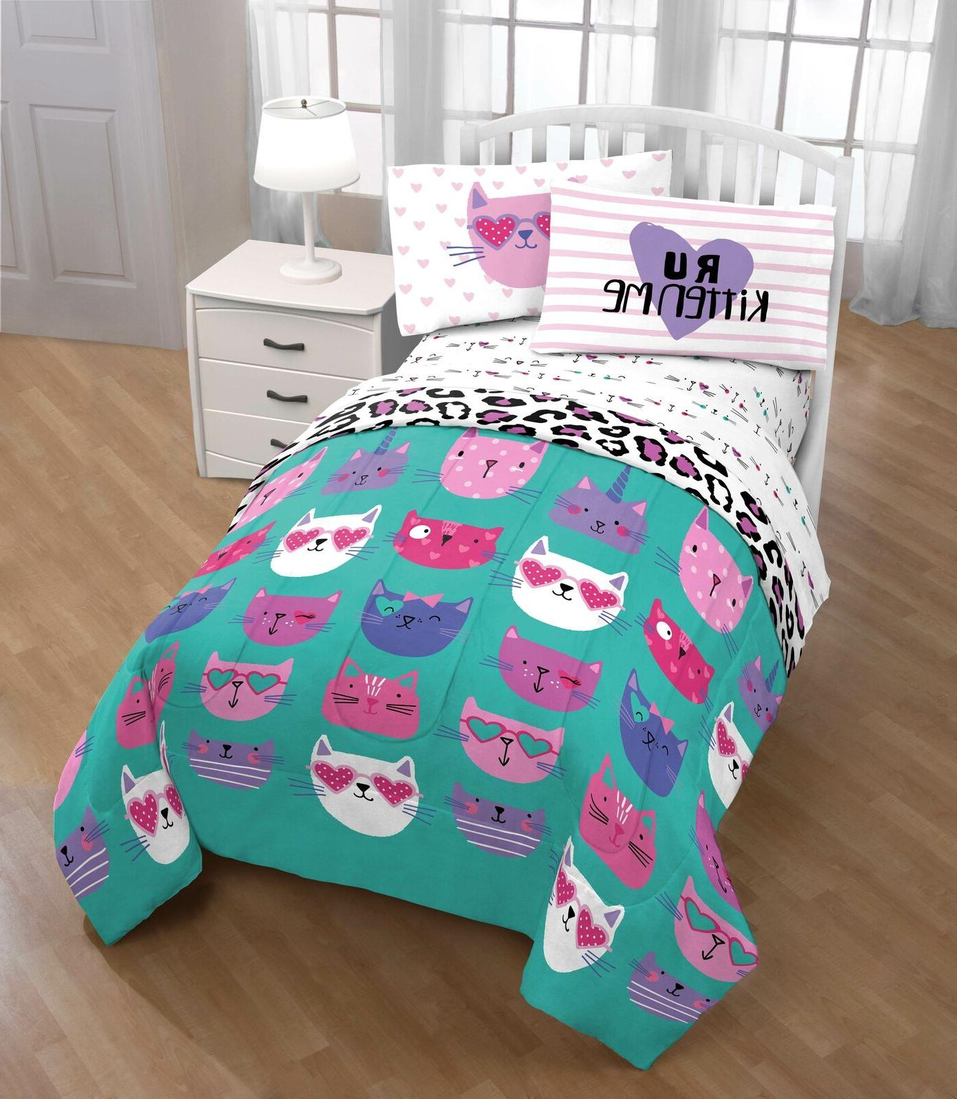 Bedding Sets For Girls Kitty Cat Twin Size Comforter Sheets