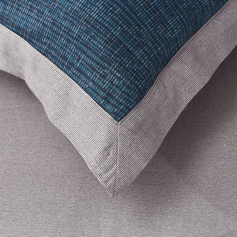 Blue Cotton Abstract Stripes Bedding <font><b>Reversible</b></font> <font><b>Bed</b></font> <font><b>Sheet</b></font> Cover Set Christmas Bedding