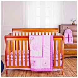 Butterfly and Flower 5 Piece Reversible Crib Bedding Set