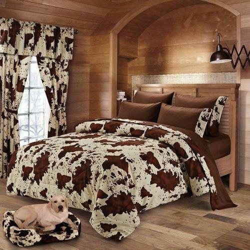 17 pc Chocolate Rodeo Cow print King size comforter sheets p