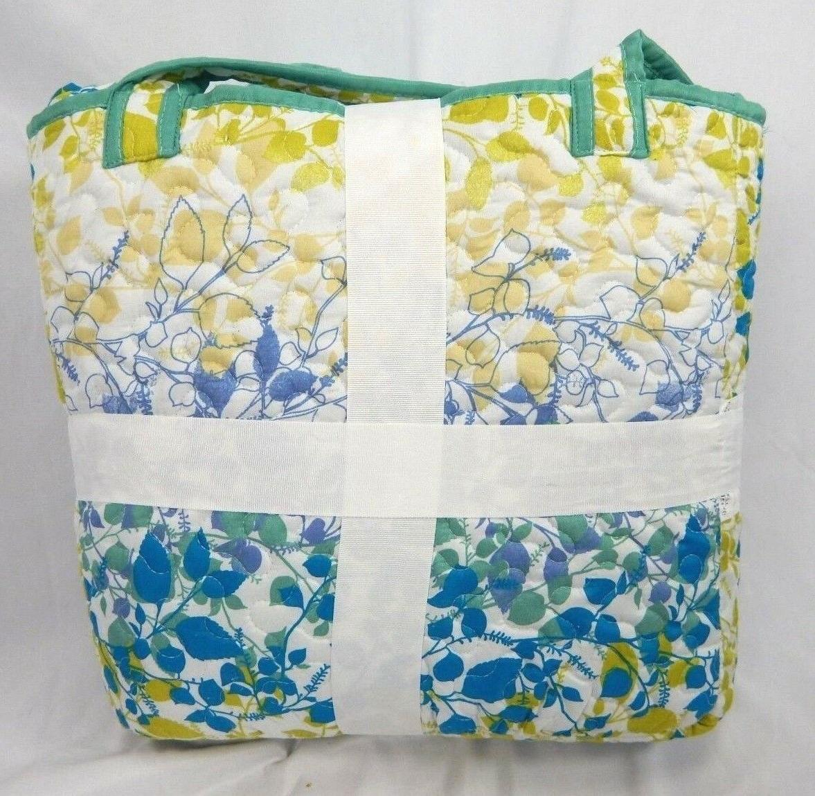 Colormate Colorful & Leaves 4-Piece Quilt & Tote Set,
