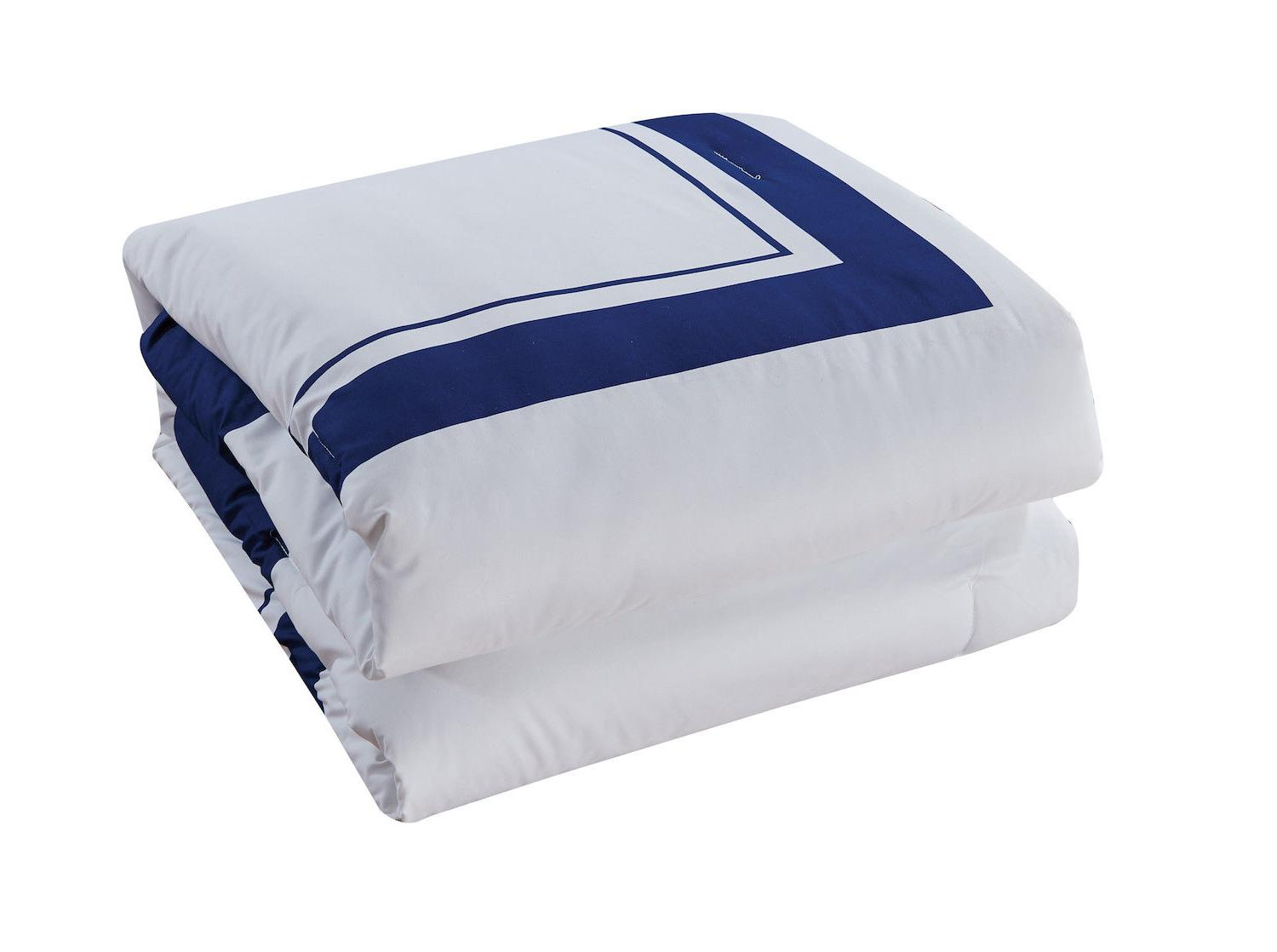 Comforter & 8 pcs Soft Navy and King Size