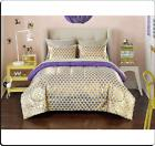 Gold Hearts Printed Comforter Set Full Size Soft Microfiber