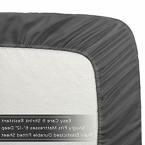 Cozy Fleece Pocket Fitted Bottom White Grey Resistant