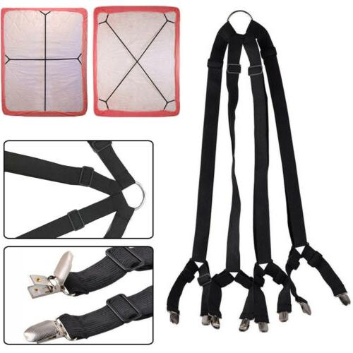 Adjustable Crisscross Bed Fitted Sheet Straps Suspenders Gri