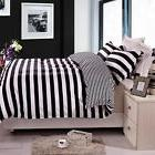 Duvet Cover Queen Size Black White Stripe Reversible Bedding