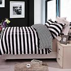 3 Pieces Duvet Cover Set Black and White Stripe Queen Size R