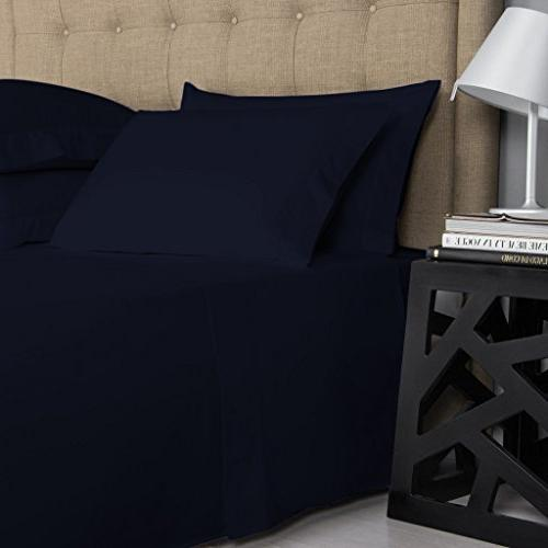 Mayfair Cotton Sheets, Navy Queen Sheets Set, Thread Long Staple Cotton, Sateen Soft and Feel, Fits